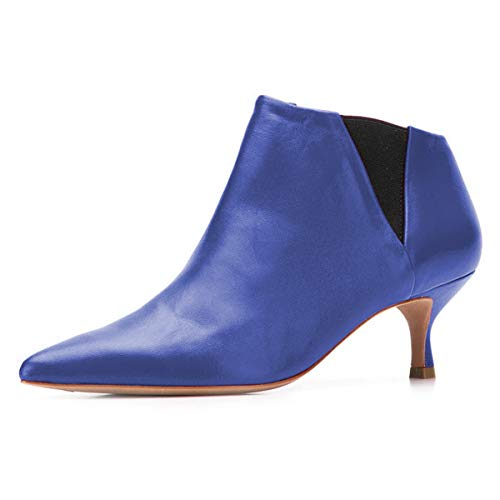 YDN-Women-Classic-Low-Kitten-Heel-Chelsea-Ankle-Boots-Pointed-Toe-Slip-On-Leather-Easy-Walking-Dress-Shoes-Blue-6-0