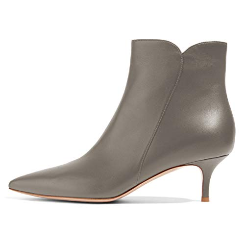 YDN-Women-Dressy-Kitten-Low-Heel-Ankle-Boots-Pointed-Toe-Booties-Shoes-with-Zips-Grey-6cm-7-0