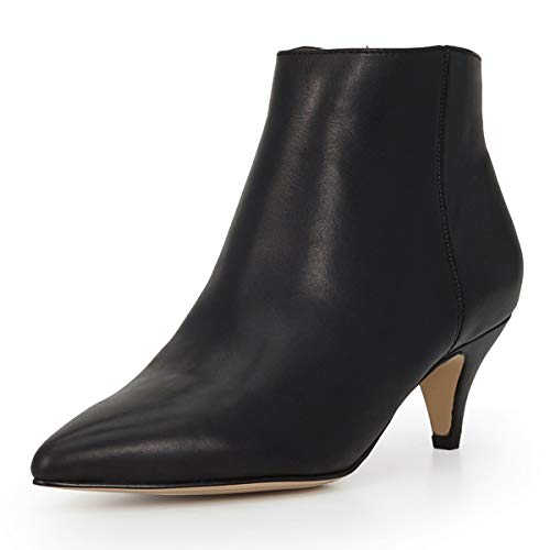YDN-Women-Kitten-Low-Heel-Booties-Pumps-Pointed-Toe-Ankle-Boots-Shoes-with-Zips-Black-6-0
