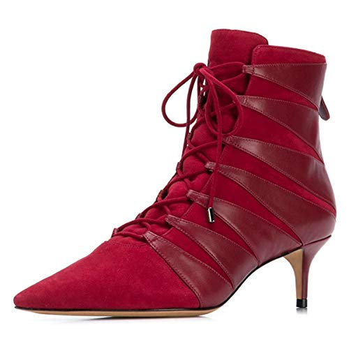 YDN-Womens-Chic-Pointed-Toe-Kitten-Low-Mid-Heels-Ankle-Boots-Comfortable-Classic-Lace-up-Back-Zippers-Dress-Party-Shoes-Size-11-Wine-Red-0