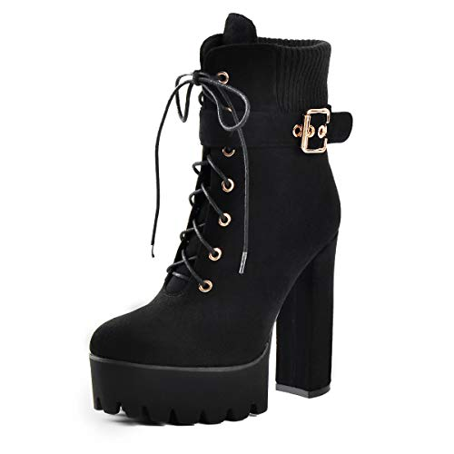 onlymaker-Suede-Chunky-Heel-Lace-Up-Ankle-Boots-with-Platform-for-Woman-Black-Size-US-8-0