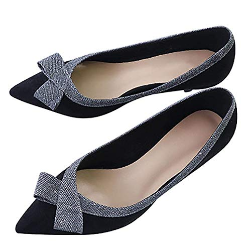 CHENSF-Womens-Beautiful-Bow-Shallow-Low-Heel-ShoesBlack-VelvetUS7CN38Foot-Long-24cm-0