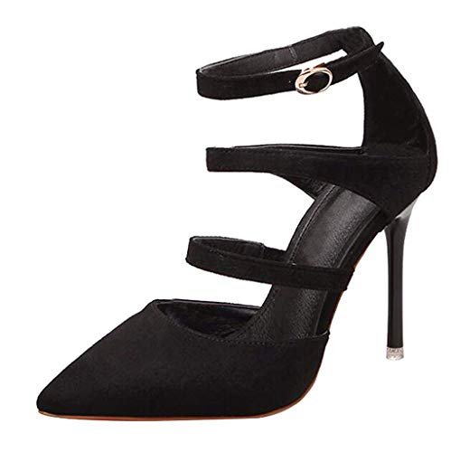 CHENSF-Womens-Sexy-Party-Suede-high-Heel-high-Heel-SandalsBlack-VelvetUS85CN40Foot-Long-25cm-0
