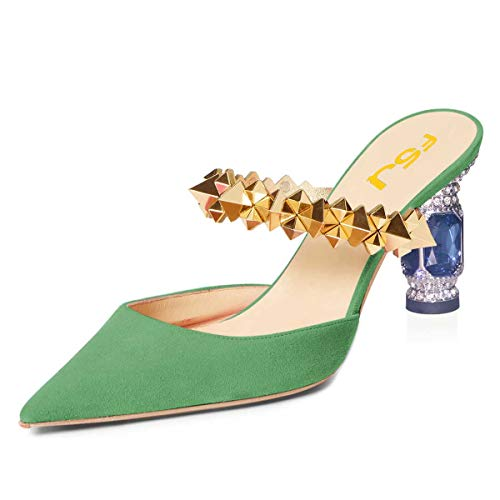 FSJ-Women-Chunky-Mid-High-Heel-Pumps-Pointed-Toe-Slide-Mules-Golden-Strappy-Sandals-Crystal-Dress-Party-Shoes-Shoes-Size-8-Green-0