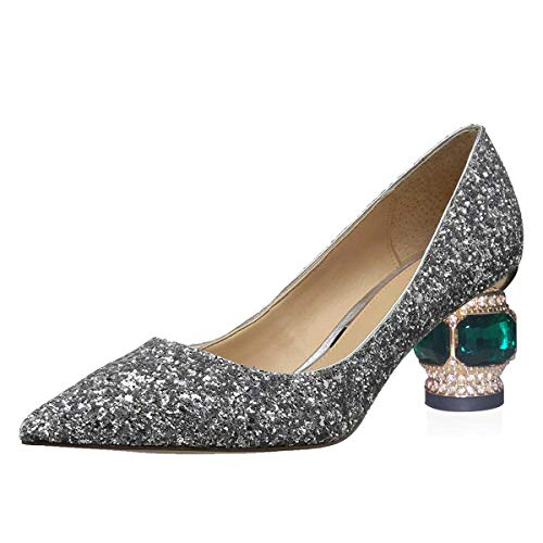 FSJ-Women-Gorgeous-Crystal-Chunky-Low-Heel-Pumps-Comfy-Slip-on-Pointed-Toe-Glitter-Dress-Evening-Party-Shoes-Size-10-Silver-0