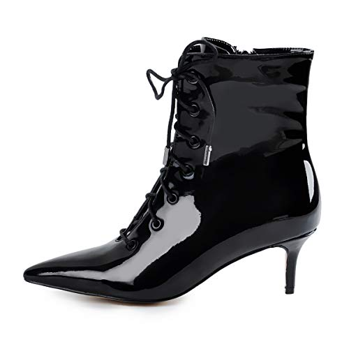Onlymaker-Womens-Kitten-Low-Heel-Ankle-Bootie-Pointed-Toe-Lace-Up-Comfortable-Walking-Boots-Black-15-M-US-0