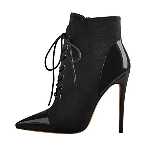 Onlymaker-Womens-Sexy-Pointed-Toe-Lace-Up-Ankle-Boots-Zipper-Stiletto-Heel-Dress-Booties-Black-US-15-0