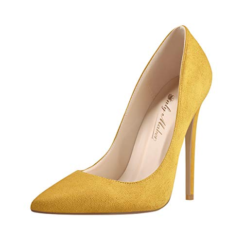 Onlymaker-Womens-Sexy-Pointed-Toe-Suede-High-Heel-Slip-On-Stiletto-Pumps-Large-Size-Basic-Shoes-Yellow-Size-14-0