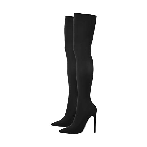 Onlymaker-Womens-Thigh-High-Pointy-Toe-Stiletto-Stretch-Sock-Boots-Over-The-Knee-Stockings-Bootie-Pumps-Size-15-Black-0