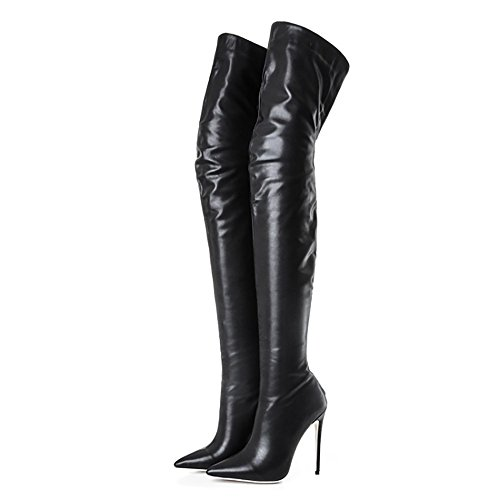 Themost-Womens-Pointed-Toe-PU-Leather-Bottom-Zipper-Stiletto-Over-The-Knee-Riding-BootsA48-0