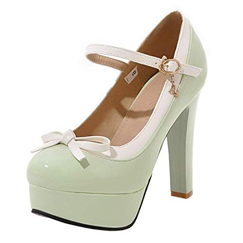 Womens-Ankle-Strap-Stiletto-Heel-Platform-High-Heel-Party-PumpsGreen85-M-US-0