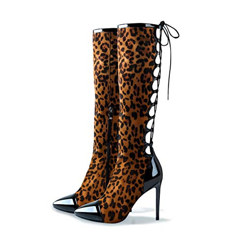Womens-Knee-High-Boots-Pointed-Toe-Back-Lace-up-Stiletto-High-Heel-Combat-Boots-Leopard-B-Size-15-0