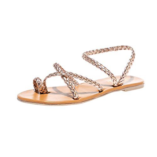 Womens-Ladies-Spring-Summer-Woven-Flat-Heel-Slippers-Beach-Sandals-Roman-Shoes-Rose-Gold-0