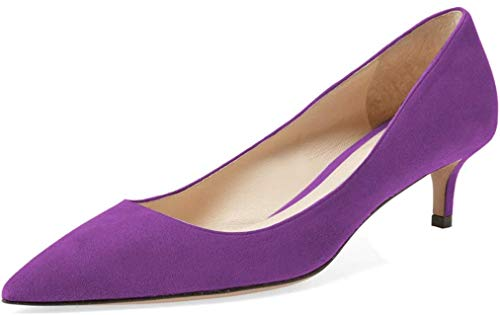 YDN-Women-Low-Kitten-Heel-Pumps-Pointed-Toe-Dress-Shoes-for-Office-Lady-Soft-Suede-Purple-10-0
