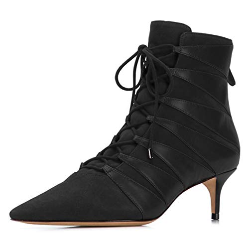 YDN-Womens-Chic-Pointed-Toe-Kitten-Low-Mid-Heels-Ankle-Boots-Comfortable-Classic-Lace-up-Back-Zippers-Dress-Party-Shoes-Size-10-Black-0