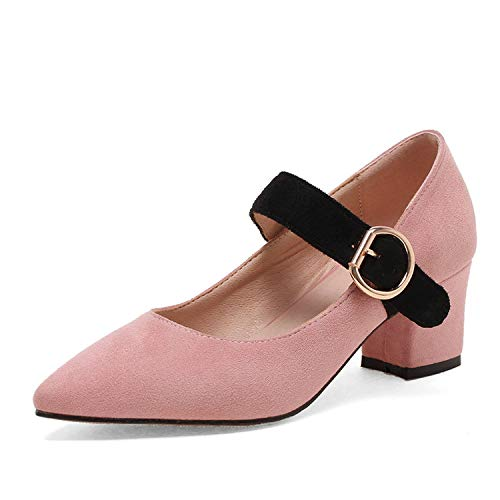 meiguiyuan-Women-Pumps-Platform-Square-High-Heel-Pointed-Toe-Flock-SpringAutumn-Buckle-Fashion-ShoesPink8-0