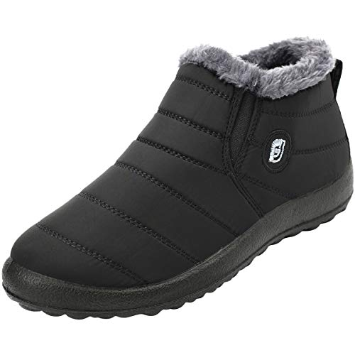 FEETCITY-Slip-on-Snow-Boots-for-MenAnti-Slip-Lightweight-Ankle-Bootie-with-Fully-Fur-Black-12-Women10-Men-0