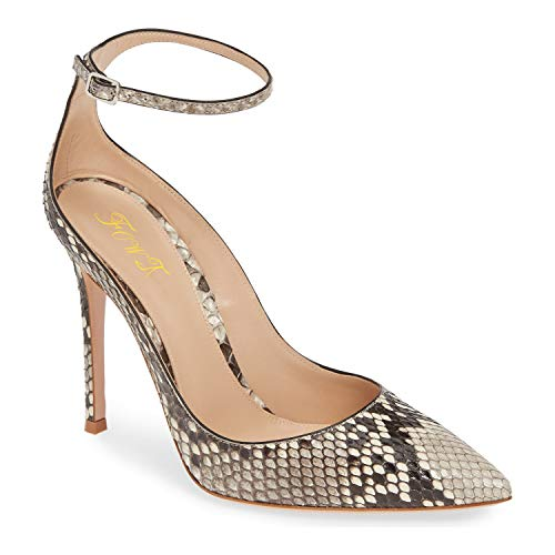 FOWT-Ankle-Strap-Pointed-Closed-Toe-High-Heel-Pumps-Buckled-Slim-Strap-with-Adjustable-Buckle-4-inch-Stiletto-Slip-On-Burnished-Snakeskin-Dress-Pump-Party-Office-Wedding-Full-Size-15-M-US-Snakeskin-0