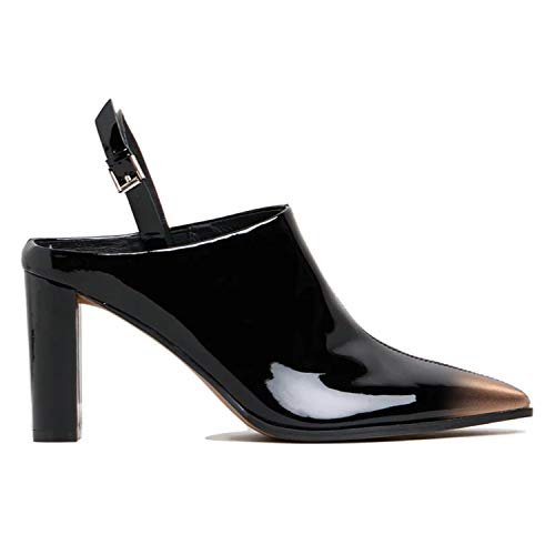 FOWT-Slingback-Chunky-High-Heel-Pumps-for-Women-with-Pointed-Toe-Two-Toned-Open-Heel-Closed-Toe-Mule-Ankle-Buckle-Black-and-Gold-Gradient-Sandals-for-Party-Wedding-Office-12-M-US-0