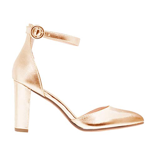 FOWT-Womens-Pointed-Toe-Block-High-Heel-Ankle-Strap-Pumps-DOrsay-Pump-with-Closed-Toe-for-Dress-Party-Wedding-Metallic-Gold-14-M-US-0