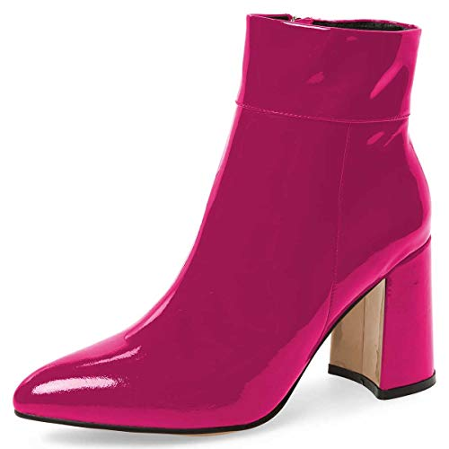 FSJ-Women-Pointed-Toe-Block-High-Heels-Ankle-Boots-Glossy-Patent-Leather-Party-Dress-Booties-Size-8-Fuchsia-0