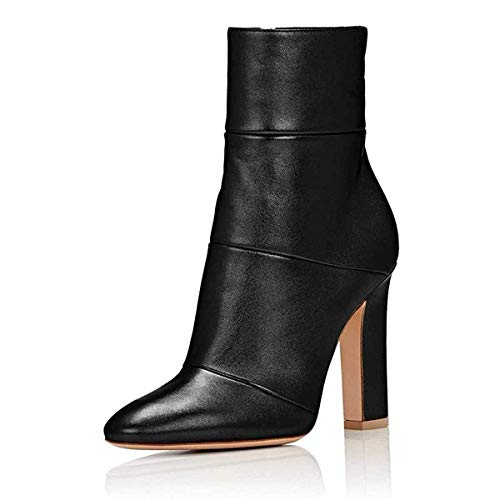 FSJ-Women-Retro-Chunky-High-Heel-Ankle-Boots-Pointed-Toe-Booties-with-Side-Zipper-Size-10-Black-Matt-0