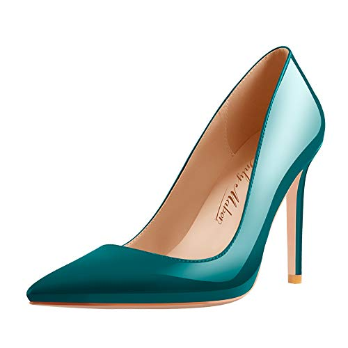 Onlymaker-Basic-Slip-On-Pumps-for-Women-Sexy-Stilettos-Pointed-Toe-Office-High-Heels-Wide-Width-Green-Size-13-0
