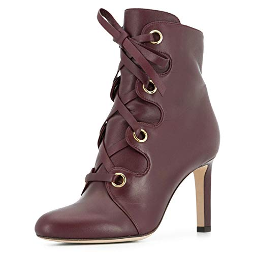 YDN-Women-Classic-Closed-Round-Toe-Ankle-Boots-Lace-Up-Thick-High-Heels-Cross-Straps-Formal-Shoes-Wine-Red-13-0