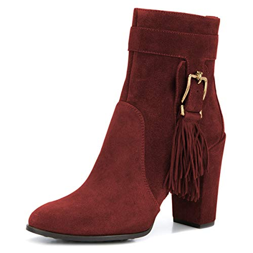 YDN-Women-Closed-Toe-Tassel-Ankle-Boots-High-Chunky-Heel-Zip-Up-Casual-Walking-Short-Booties-Dark-Red-95-0
