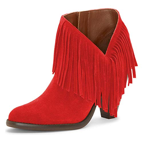 YDN-Women-High-Chunky-Block-Stacked-Heel-Ankle-Booties-Fringe-Cutout-Short-Boots-Side-Zip-Western-Shoes-Red-13-0