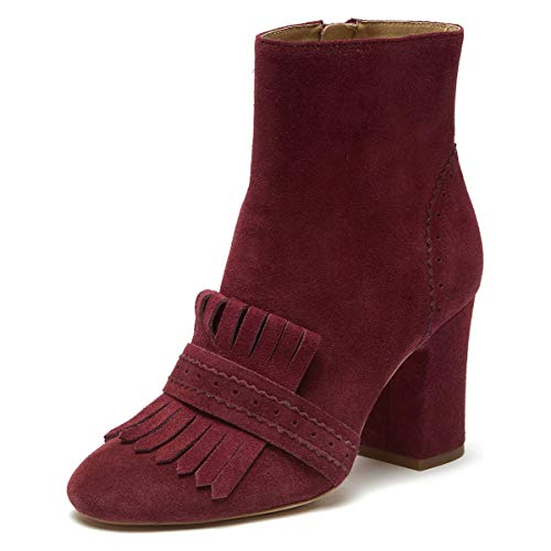 YDN-Women-Perforated-Round-Toe-Chunky-High-Heel-Ankle-Boots-Fringes-Booties-Tassels-Work-Shoes-FireBrick-8-0