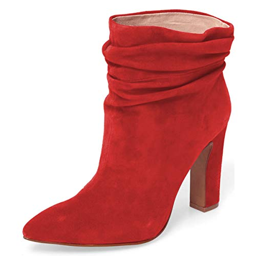 YDN-Women-Slouch-Ankle-Boots-Pointed-Toe-Chunky-High-Heel-Pull-on-Booties-Winter-Shoes-Red-85-0