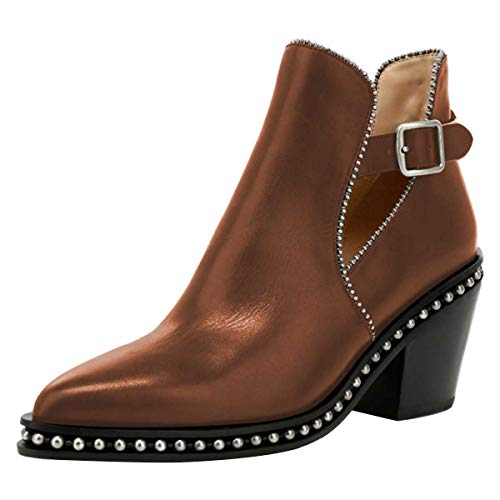 YDN-Women-Studded-Mid-Chunky-Heeled-Ankle-Booties-Pumps-Closed-Almond-Toe-Buckle-Strap-Short-Combat-Boots-Bronze-12-0