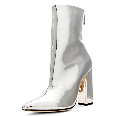 YDN-Women-Western-Chunky-High-Heel-Ankle-Boots-Pointed-Toe-Booties-Zipper-Shoes-Silver-13-0