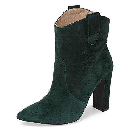 YDN-Women-Western-Pointed-Toe-Chunky-High-Heel-Ankle-Booties-Pull-on-Boots-Shoes-Olive-15-0