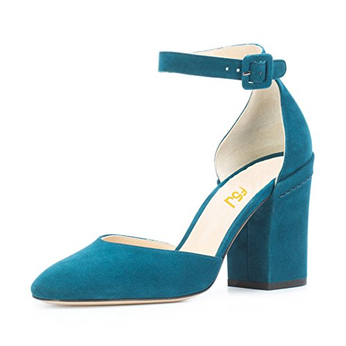 FSJ-Women-Ankle-Strap-DOrsay-Pumps-Retro-Round-Toe-Faux-Suede-Chunky-Heels-Sandals-Size-11-Teal-0