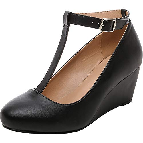 Luoika-Womens-Wide-Width-Wedge-Shoes-Mary-Jane-Heel-Pump-with-T-Strap-Black-PU-18031010WW-0