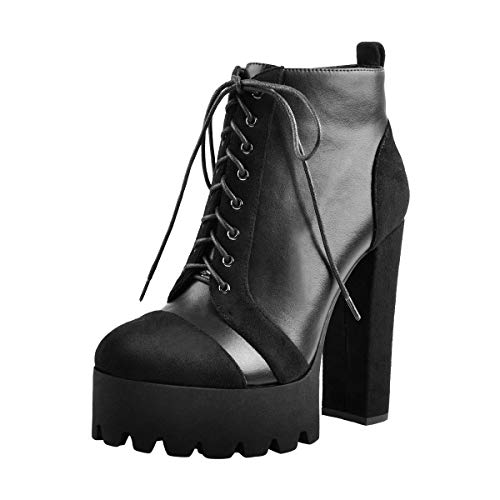 Onlymaker-Faux-Leather-Platform-Chunky-Heel-Ankle-High-Motorcycle-Boot-Black-Size14-0