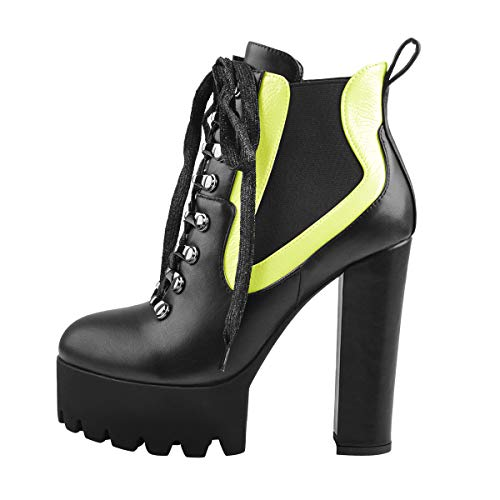 Onlymaker-Womens-Fashion-Chunky-High-Heel-Lace-Up-Platform-Combat-Ankle-Boots-Round-Toe-Booties-Black-US-11-0