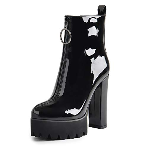 Onlymaker-Womens-Patent-Leather-Ankle-Boots-Platform-Round-Toe-Chunky-High-Heel-Front-Zipper-Ankle-Booties-Black-7-M-US-0