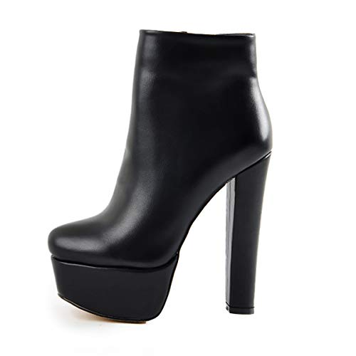 Onlymaker-Womens-Platform-Round-Toe-Bootie-Block-Chunky-High-Heels-Artificial-Suede-PU-Leather-Shoes-Size-Zipper-Ankle-Boots-with-Warm-Artificial-Fur-Inners-Black-US-7-0
