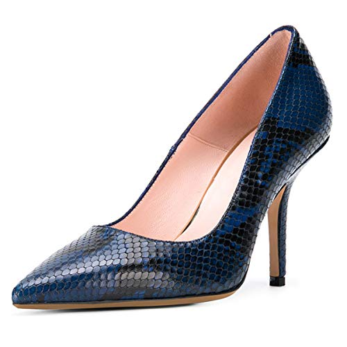XYD-Women-Casual-Mid-Heel-Pumps-Pointed-Toe-Slip-On-Patent-Suede-Basic-Office-Dress-Shoes-Size-15-Snake-Print-Blue-0