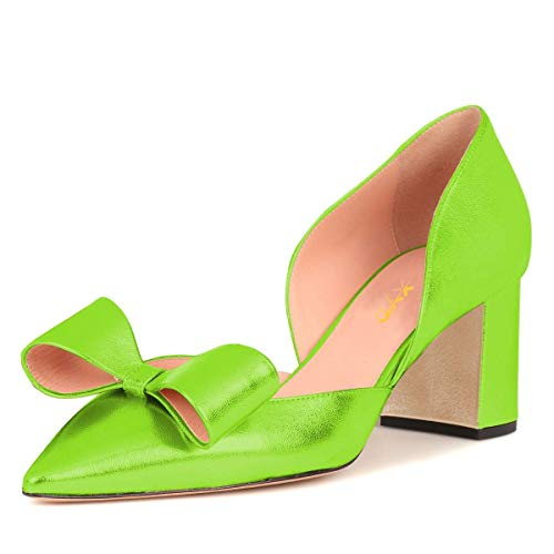 XYD-Women-Cute-Bows-Low-Block-Heel-Pumps-Pointed-Toe-DOrsay-Slip-On-Office-Lady-Dress-Shoes-Size-12-Lime-Green-0