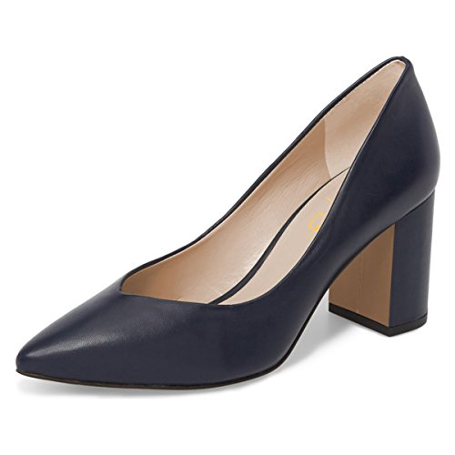 XYD-Women-Pointed-Toe-Mid-Chunky-Heel-Pumps-Slip-On-Basic-Office-Ladies-Dress-Shoes-Size-13-Dark-Blue-0