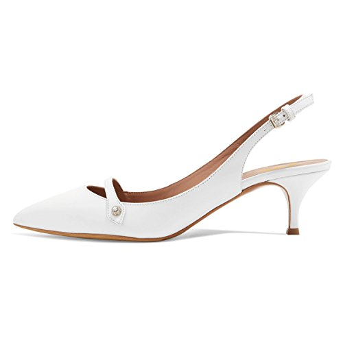 XYD-Women-Pointed-Toe-Mid-Kitten-Heel-Slingback-Sandal-Pumps-Slip-On-Patent-Satin-Dress-Shoes-Size-12-Ivory-PU-0