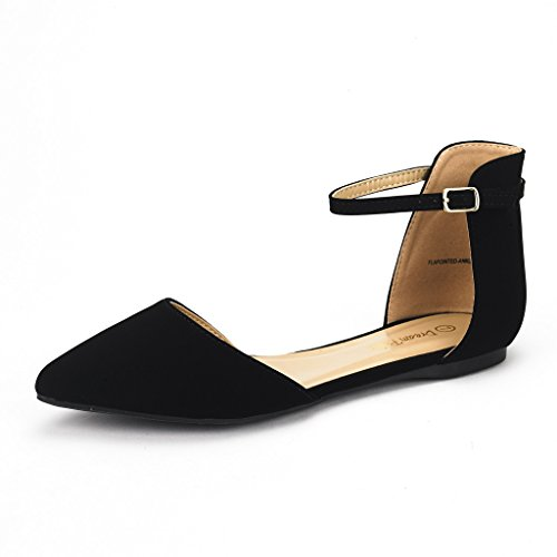 DREAM-PAIRS-Flapointed-Ankle-Womens-Casual-DOrsay-Pointed-Plain-Ballet-Comfort-Soft-Slip-On-Flats-Shoes-New-Black-Nubuck-Size-12-0