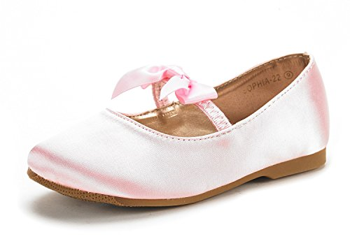 DREAM-PAIRS-Sophia-22-Adorables-Mary-Jane-Front-Bow-Elastic-Strap-Ballerina-Flat-Little-Kid-New-Pink-Size-13-0
