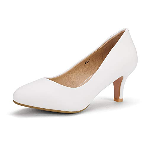 IDIFU-Womens-Classic-Low-Heels-Dress-Pumps-2-Inch-Kitten-Heel-Round-Toe-Office-Wedding-Shoes-White-PU-75-BM-US-0