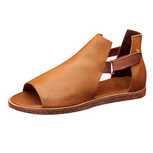 LONGDAY-Womens-Flat-Sandals-Open-Toe-Slip-on-Fashion-Summer-Casual-Shoes-Pu-Shoes-Low-Heels-Strappy-Sandal-with-Buckle-Brown-0