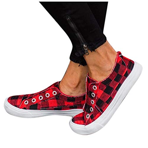 Women-Flat-Canvas-Shoes-Espadrille-Breathable-Plaid-Print-Casual-Sneaker-Ladies-Driving-Loafers-Nurse-Shoes-US105-Red-0